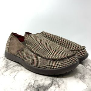NWT Crocs Santa Cruz Plaid mens slip on 10 brown